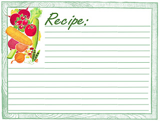 free recipe card digital vegetable