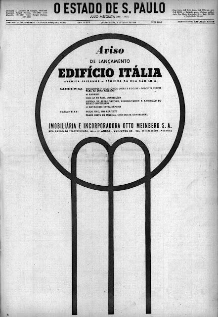 Propaganda de lançamento do Edifício Itália na cidade de São Paulo no ano de 1956.
