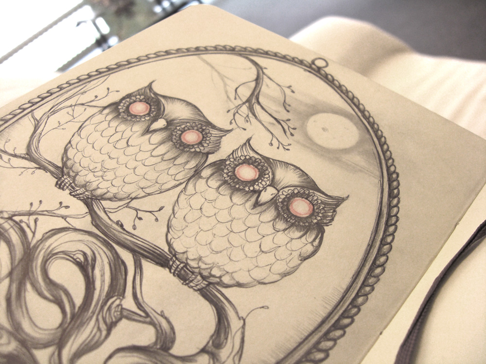 Art illustration by marjolein caljouw birdcages and for Draw the owl