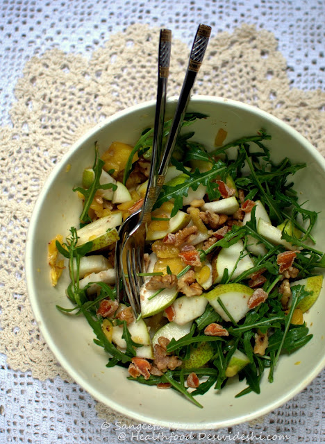 pear rucola walnut salad