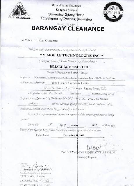 barangay clearance The seal of barangay socorro features the twin pre-war water tanks, the flag of the philippines, and the year when socorro was established it is used to authenticate certain documents issued by the barangay government, such as barangay clearance.