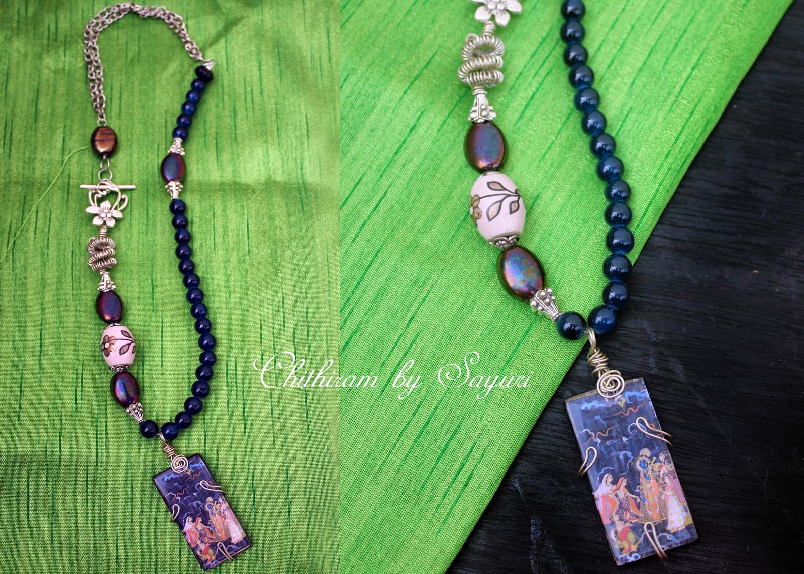 Prong set beaded necklace