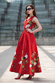 New 2016 Sleeveless Red Flamingo Embroidery Maxi