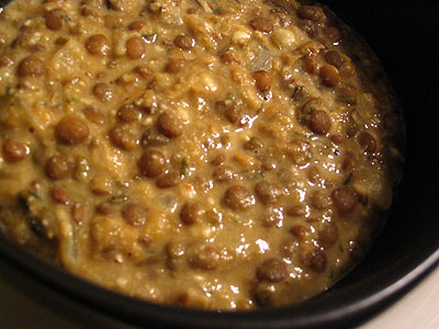 Brown Lentils and Moong Dal in a Cashew-Almond Sauce