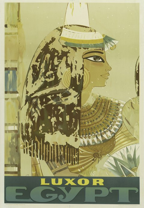 classic posters, free download, graphic design, retro prints, travel, travel posters, vintage, vintage posters, Luxor Egypt - Vintage Travel Poster