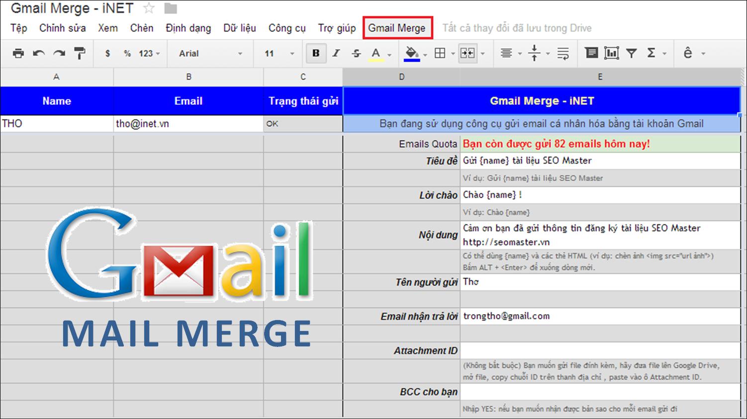 Mail Merge với Gmail và Google Docs