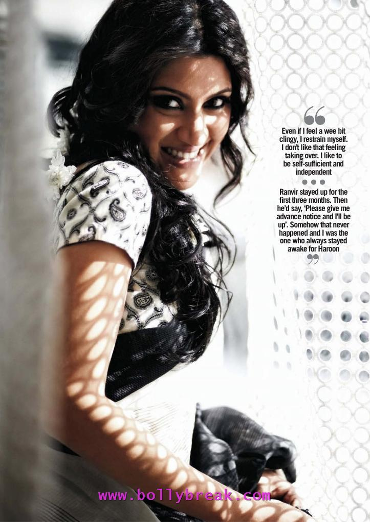 Konkona Sen Sharma in black white saree -  Konkona Sen Sharma Filmfare Scans – May 2012