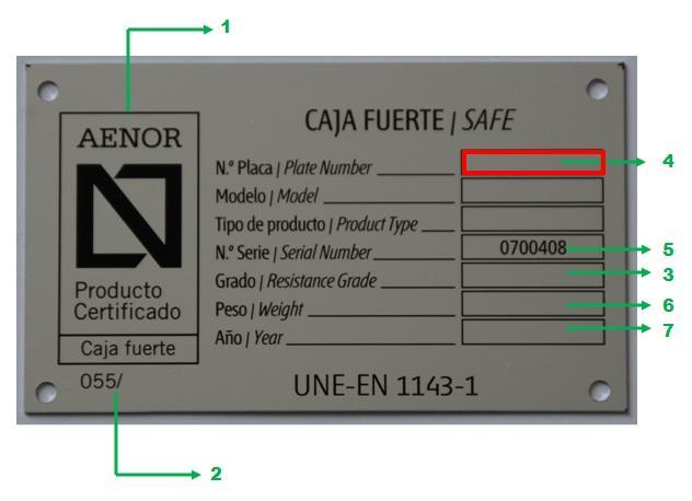 Si no tiene la caja fuerte esta placa con su nº de placa  ¡¡¡EL CERTIFICADO PUEDE SER FALSO!!!
