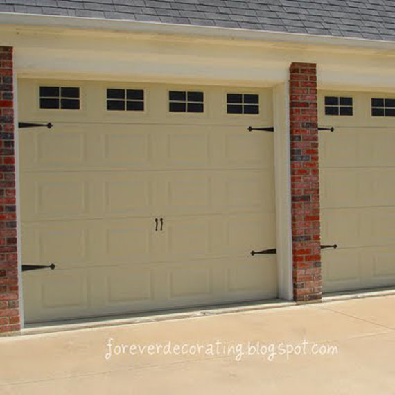 Remodelaholic easy faux carriage door tutorial for Faux painted garage doors