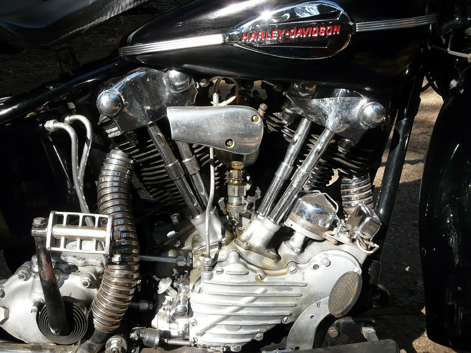 1942 Harley Knucklehead motorcycle motor close-up
