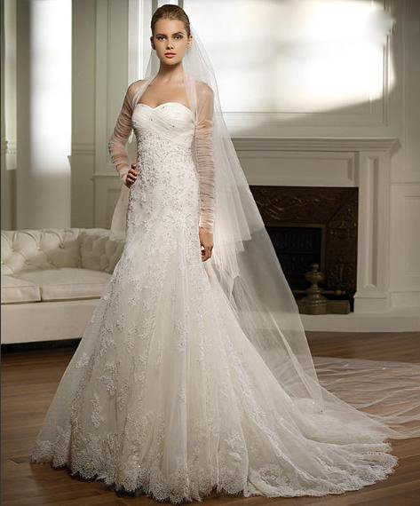 The Best White Lace Wedding Dress With Transparent Shawl