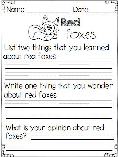 A Day in First Grade   What does the fox say? {finding the main idea ...