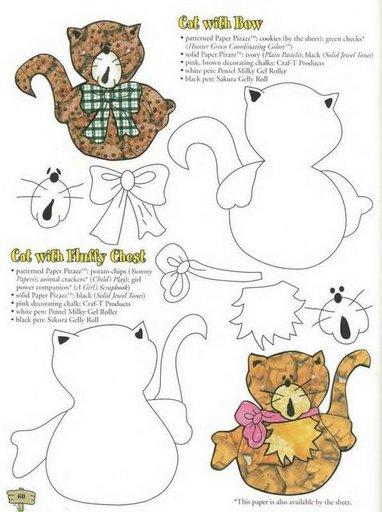 Moldes de gatos de goma eva - Imagui