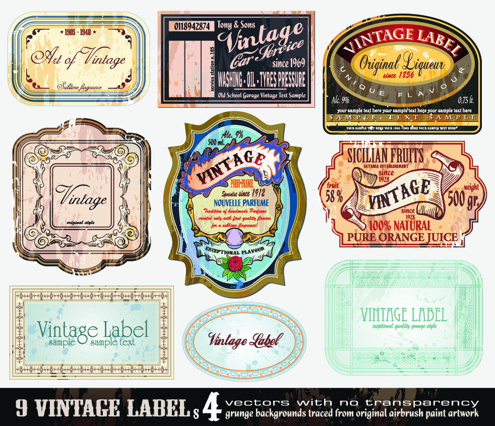 vintage labels, etiquetas vintage, vecotor, retro