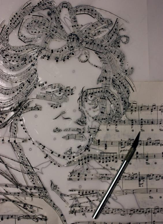 Retrato de Beethoven hecho con partituras!!