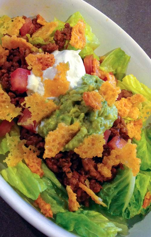 Taco Salad with Ground Turkey, Guacamole and Crispy Cheese Chips