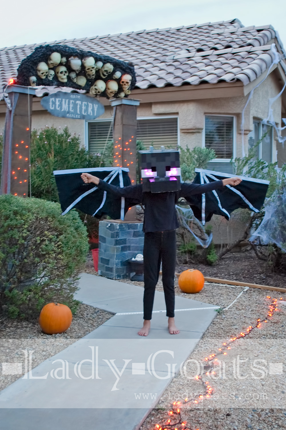 Lady goats diy ender dragon costume again really i cant tell you how it was done i went to target to get some purple led lights and a 9v battery and the magicians cough electricians solutioingenieria Choice Image