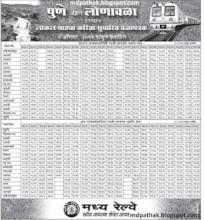 Pune Lonavala Local train timetable