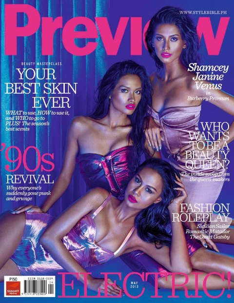 Venus, Shamcey and Janine Sport Dark Skin on Preview Magazine Cover for May 2013