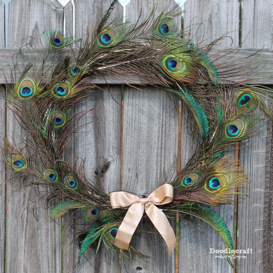 http://www.doodlecraftblog.com/2014/10/peacock-feather-wreath.html