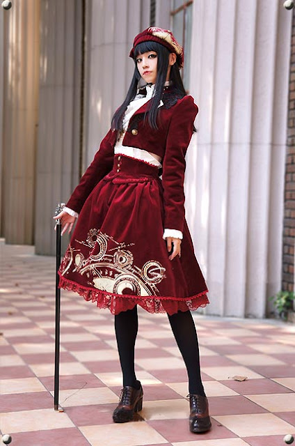 red lolita style coat