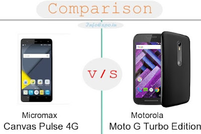 Micromax Canvas Pulse 4G versus Motorola Moto G Turbo Edition specifications and features comparison RAM,Display,Processor,Memory,Battery,camera,connectivity,special feature etc. Compare Motorola Moto G Turbo Edition and Micromax Canvas Pulse 4G in all features and price,Shopping offers,coupens.