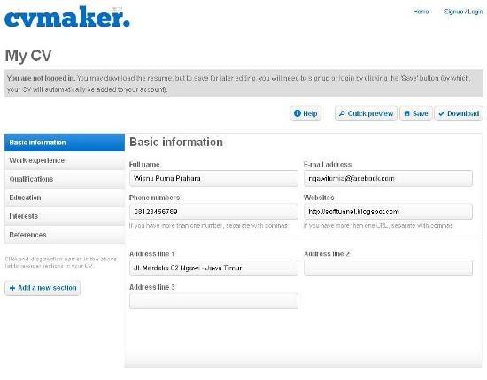 Membuat Curriculum Vitae Online Gratis : CV Maker | Soft