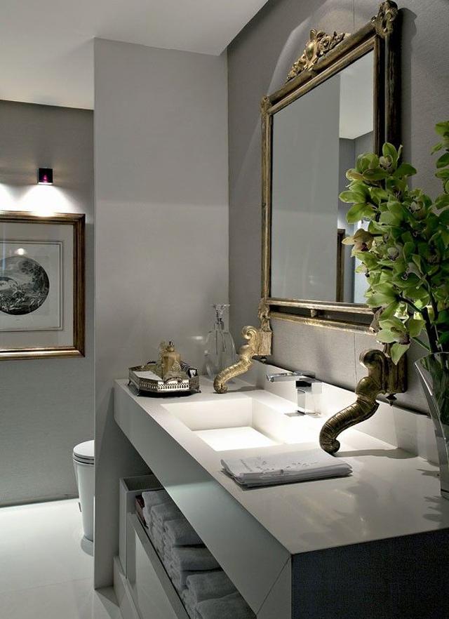 decoracao bancada lavabo : decoracao bancada lavabo:Lavabos cinzas modernos – veja modelos maravilhosos e dicas! – Decor