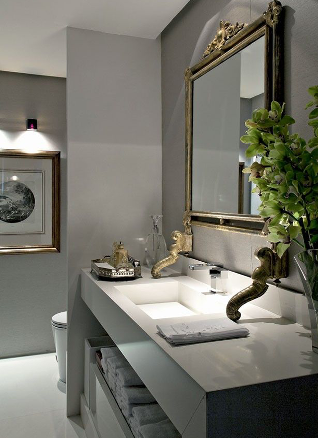 decoracao lavabo branco:Lavabos cinzas modernos – veja modelos maravilhosos e dicas! – Decor