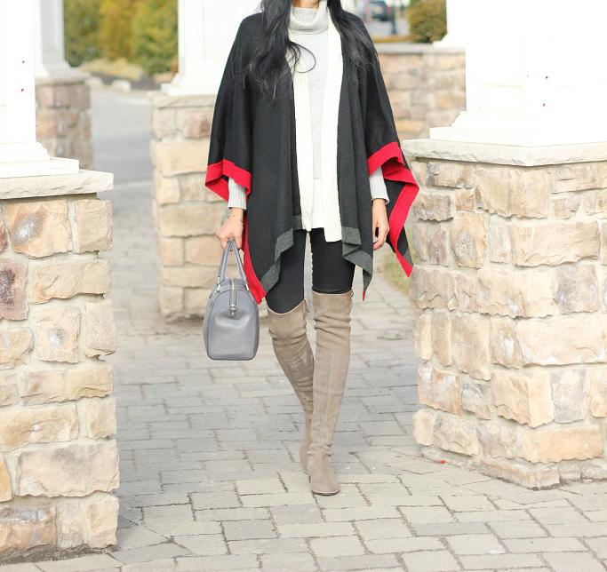 Stuart Weotzman Praline Suede OTK boots, How to wear a cape, How to wear a ruana, Kate Spade Pippa Bag