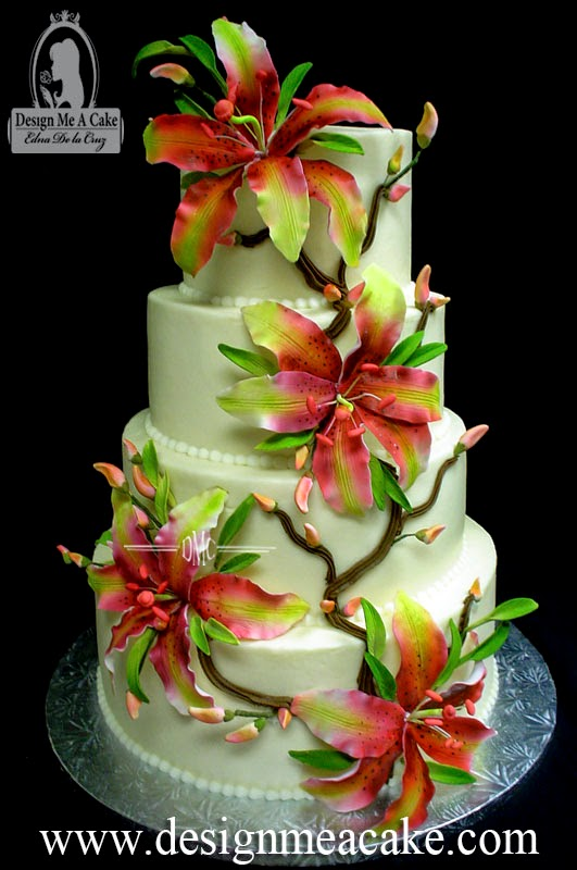 wedding cake finished with airbrushed stargazer lilies - Stargazer Coloration