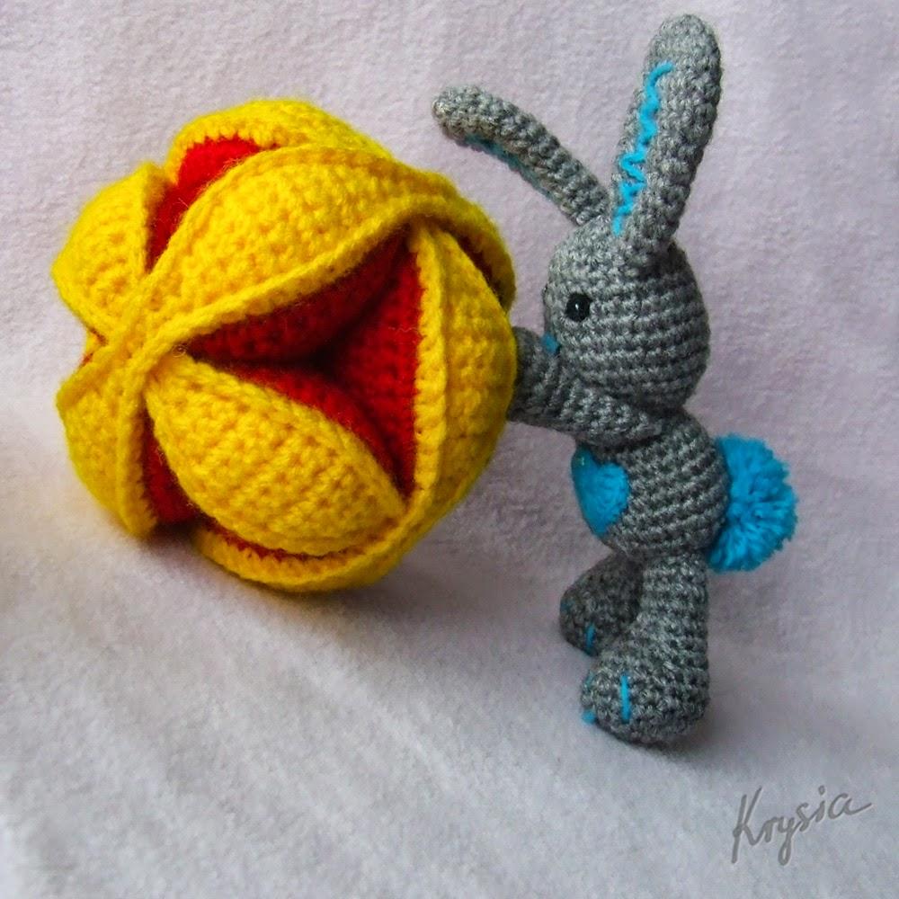 szydełkowa piłka puzzle ball królik