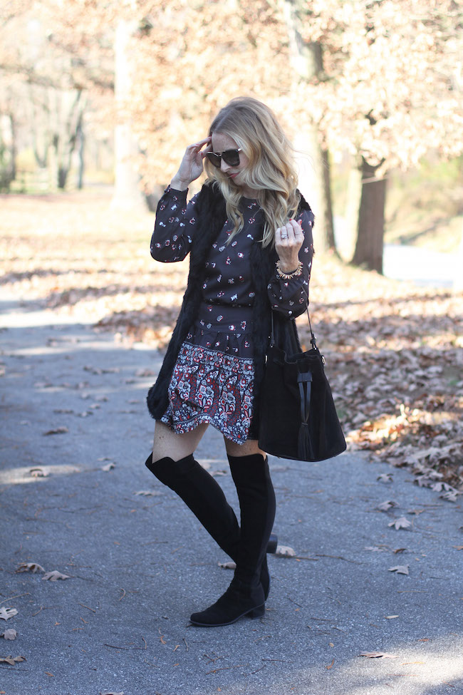 shein dress, black fur vest, black bucket bag, over the knee boots, prada sunglasses