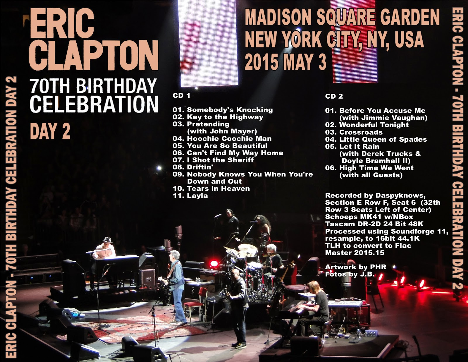 World of bootlegs bootleg eric clapton madison square garden new york 3 may 2015 cd for Madison square garden concert tonight