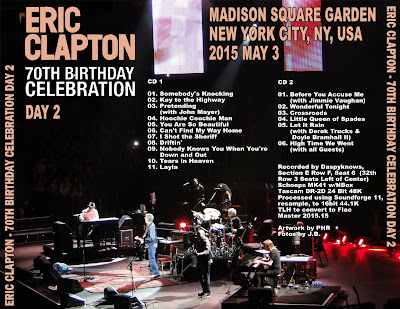 World Of Bootlegs Bootleg Eric Clapton Madison Square Garden New York 3 May 2015 Cd