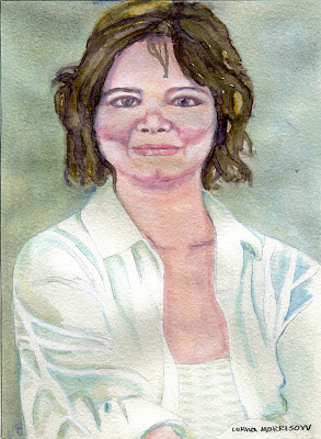 Watercolour portrait sketch of a women