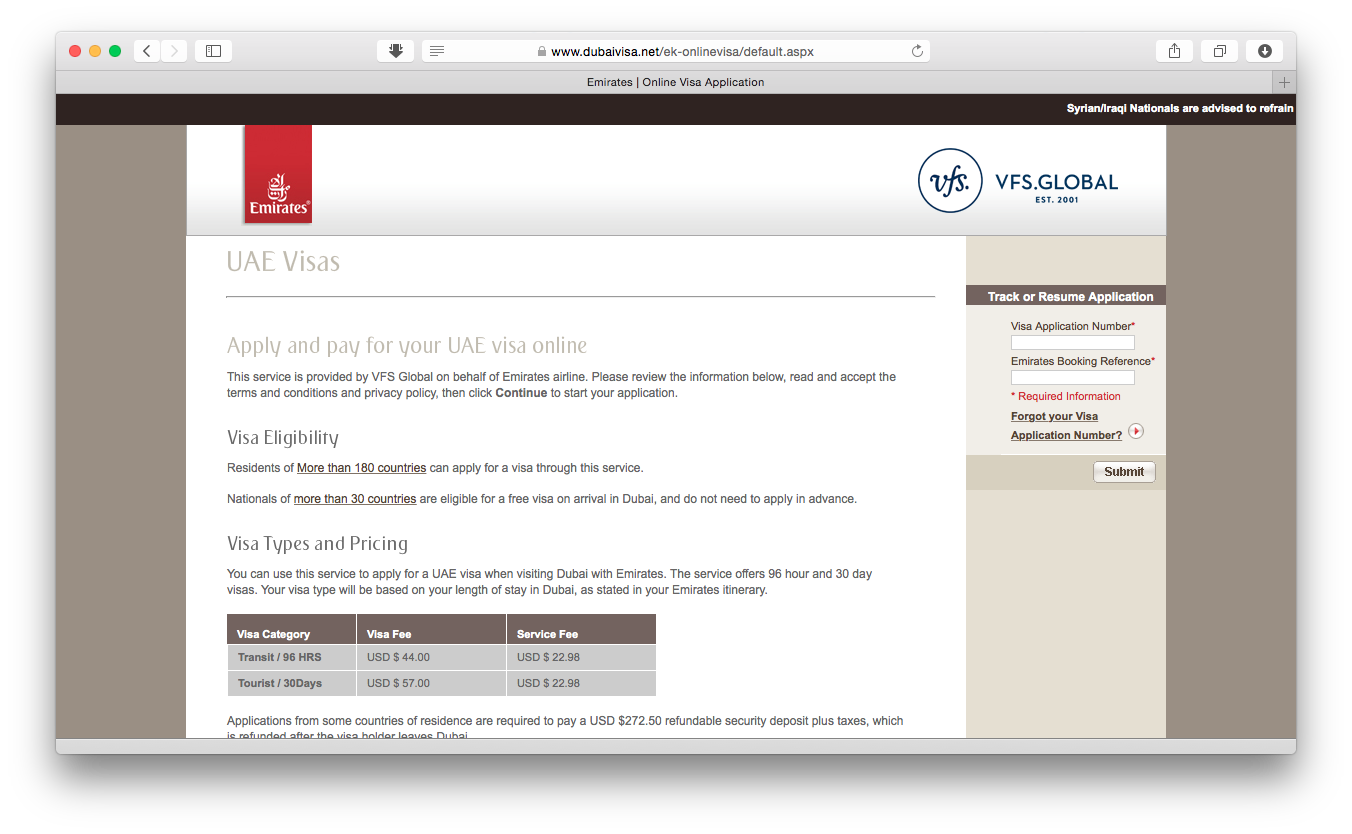 Harga online visa UAE (Dubai) melalui Manage My Booking di Emirates.com