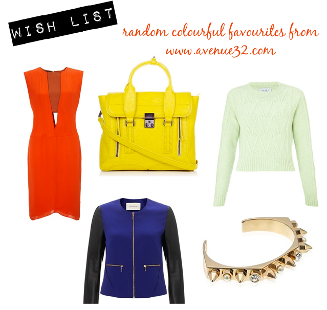 || Narciso Rodriguez, Orange Zest Silk Cut Out Dress || Phillip Lim, Electric Yellow Pashli Shoulder Bag || Cédric Charlier, Blue Zip Jacket With Leather Sleeves || Blake LDN, Lush Lambswool Galloway Jumper || Maria Francesca Pepe, Rose Gold Plated Bolt Bracelet/Cuff ||