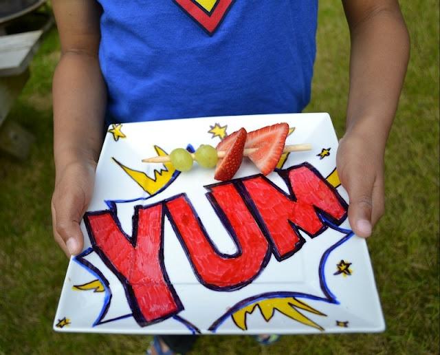 Super Dad DIY pop art plate