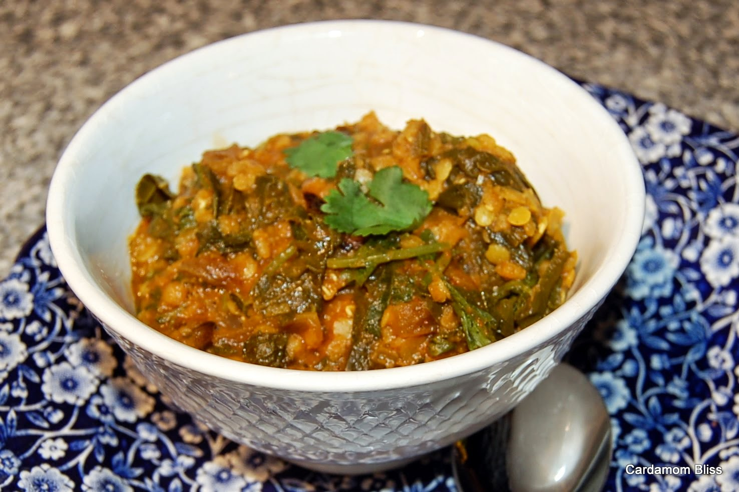 Masoor Dal with Kale, Mint and Cilantro