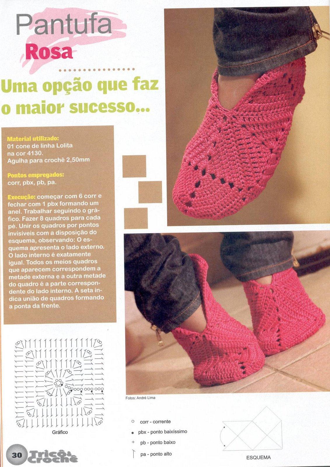Pantuflas en crochet patrones - Imagui