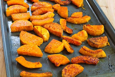 Roasted Butternut Squash Wedges with Tahini-Yogurt Sauce, Sumac, and Aleppo Pepper [found on KalynsKitchen.com]