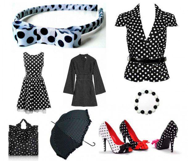 Complementos para vestido negro con lunares blancos