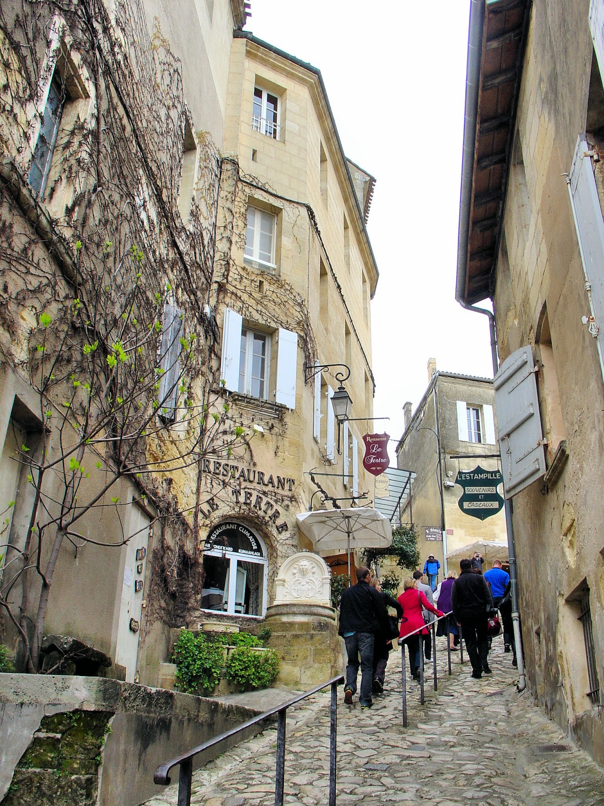 Look at the slope of this cobbled hill in Saint-Émilion. Quaint narrow lanes lined with medieval architecture are home to enchanting cafés and shops.