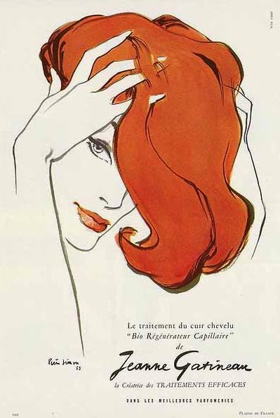 vintage hair ad illustration by Pierre Simon