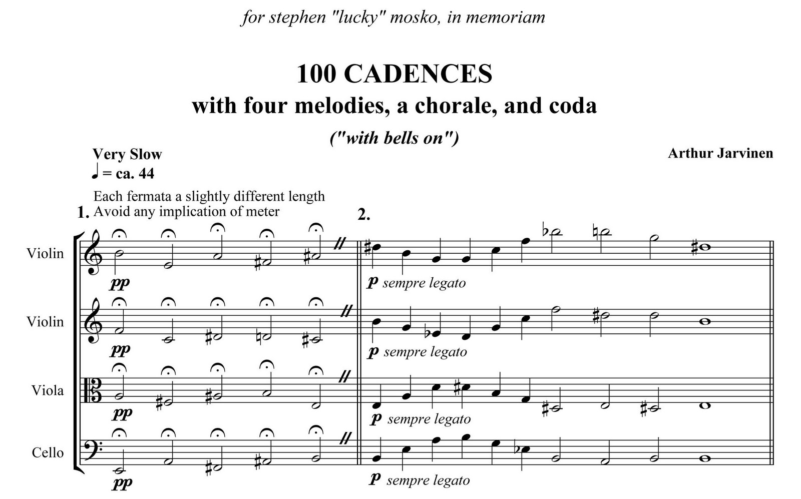 Musical score to 100 Cadences for string quartet by Arthur Jarvinen - first system