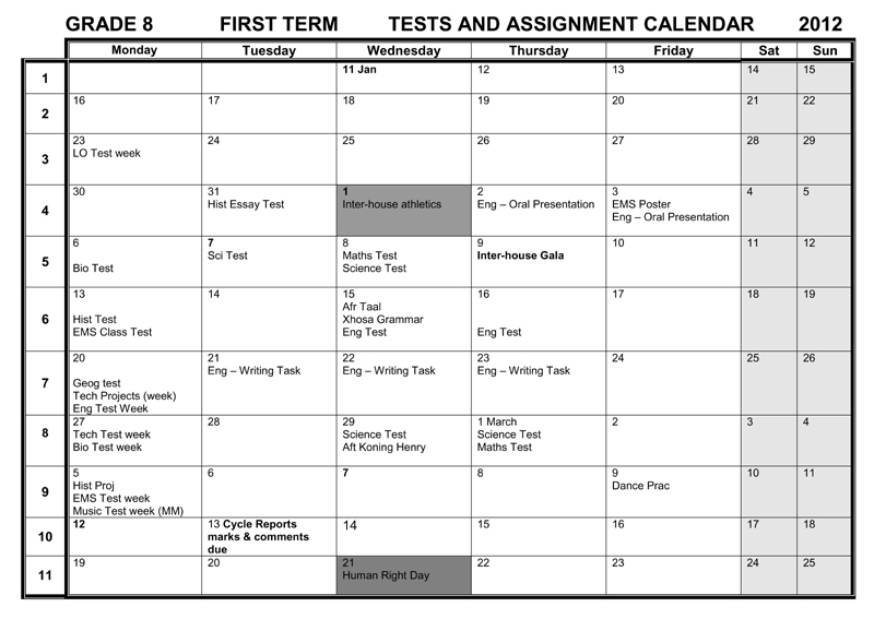 camps bay high school cbhs tests assignments calendars 1st term 12