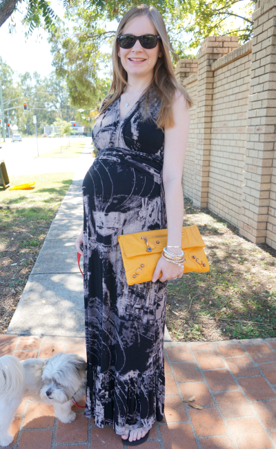 Third Trimester 34 week pregnant easy black white maxi dress bright yellow clutch