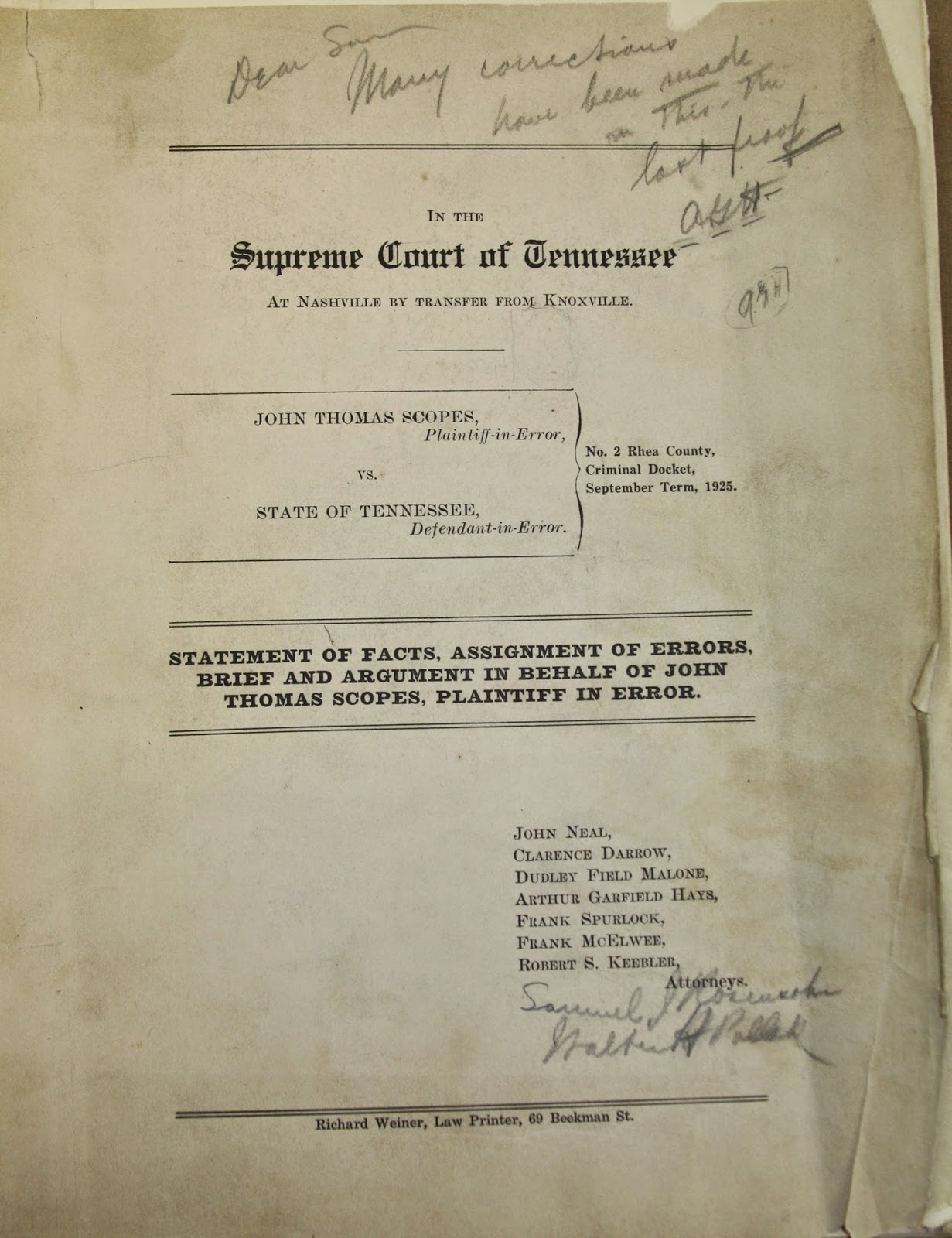 riesenfeld rare books blog  scopes trial brief new york 1925