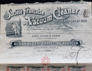 share certificate from the Société Française du Vacuum Cleaner